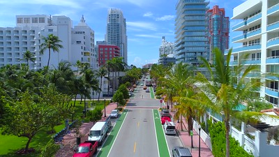 Aerial video Miami Beach Ocean Drive south of 5th