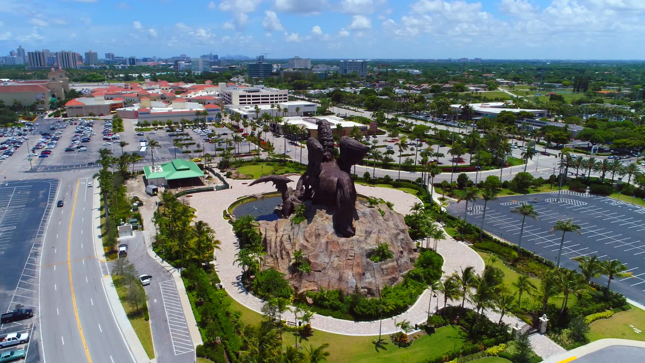 Pegasus vs Dragon statue Hallandale FL USA