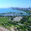 Montrose Beach boat harbor aerial video Chicago 4k