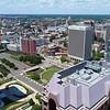 Aerial approach Downtown Richmond VA Kanawha Plaza 4k