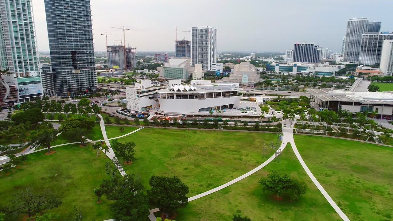 Aerial Frost Museum of Science Downtown Miami stock footage video 4k