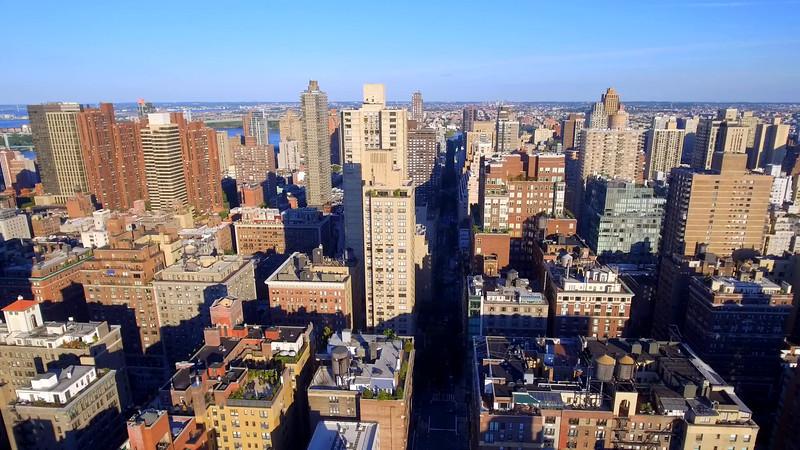 Aerial video of apartment buildings in New York