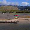 Aerial video of Maunalua Bay Beach Park Honolulu Hawaii 4k 30p