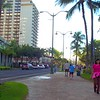 Tourists walking on Waikiki Beach Hawaii