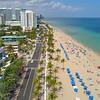 Aerial video crowded Fort Lauderdale Beach 4k 24p