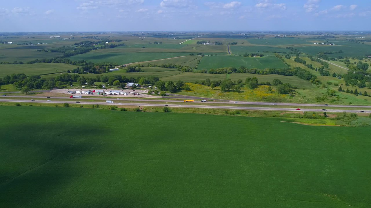 Aerial Ioqa farmland and truck stop rest area
