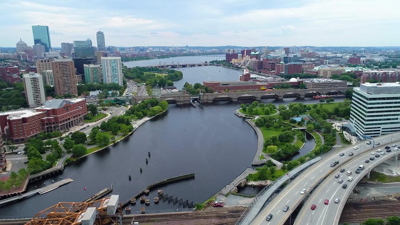 Aerial drone footage Charles River Boston
