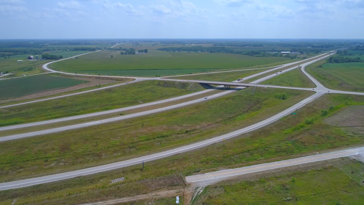 Aerial video highway overpass Fairfield Iowa USA