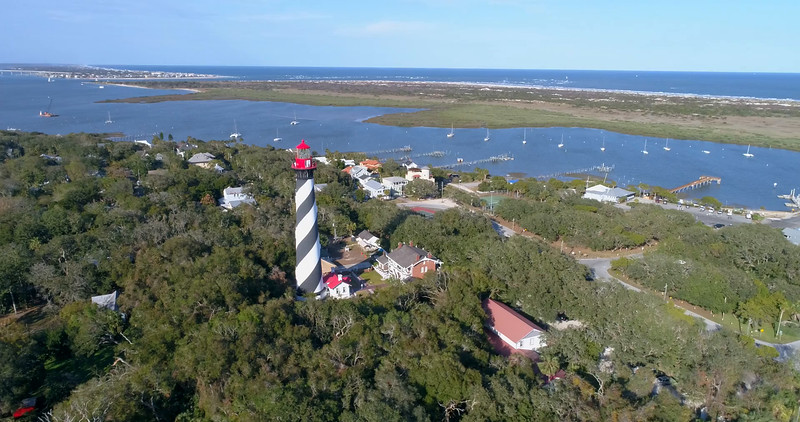 Aerial orbit St Augustine Lighthouse and Museum 4k 60p