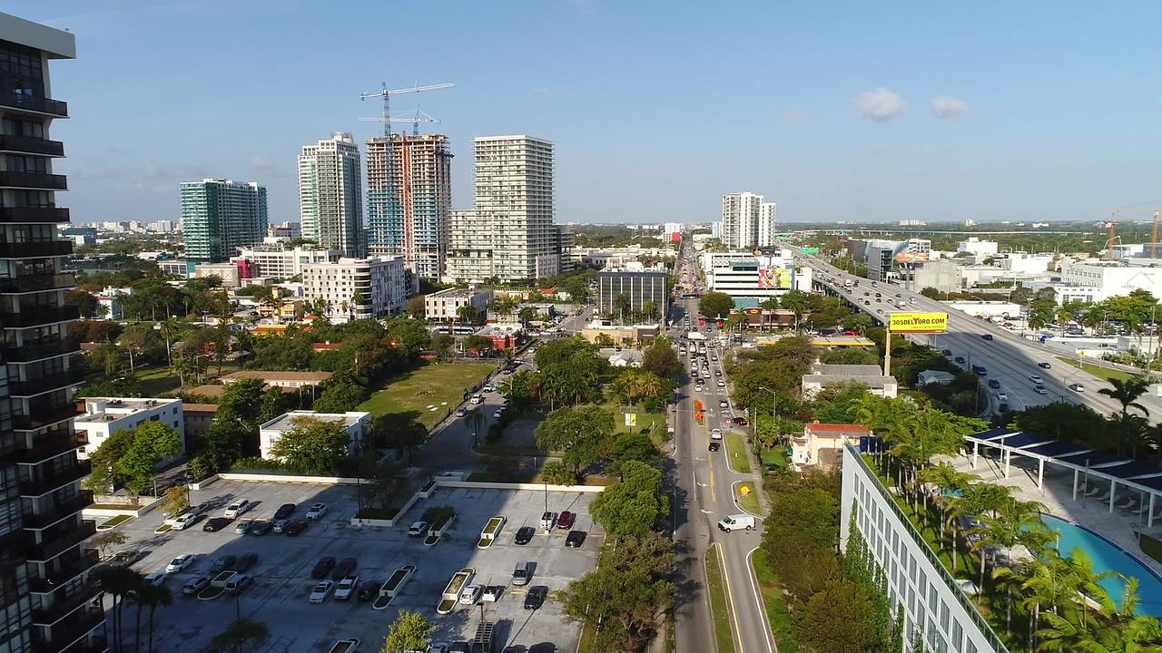 Aerial drone tour Midtown Miami Florida