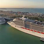 Aerial tour of Port Miami and cruise ships 4k 24p