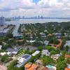 Aerial footage Sunset Islands Miami Beach