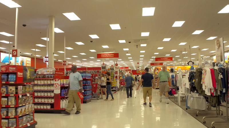 Walking through Target discount retailer