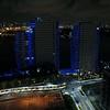 Aerial video Bentley Bay Condominium at night 4k drone