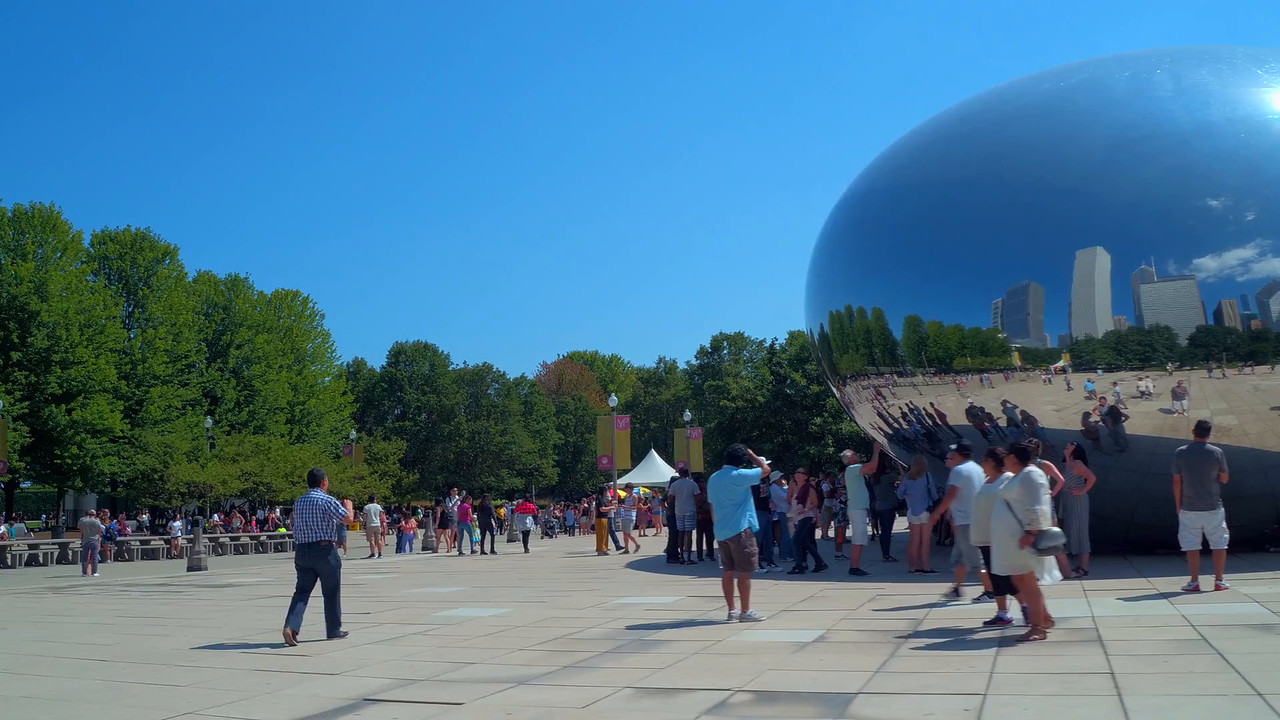 Tourists at Cloud Gate motion ground shot 4k