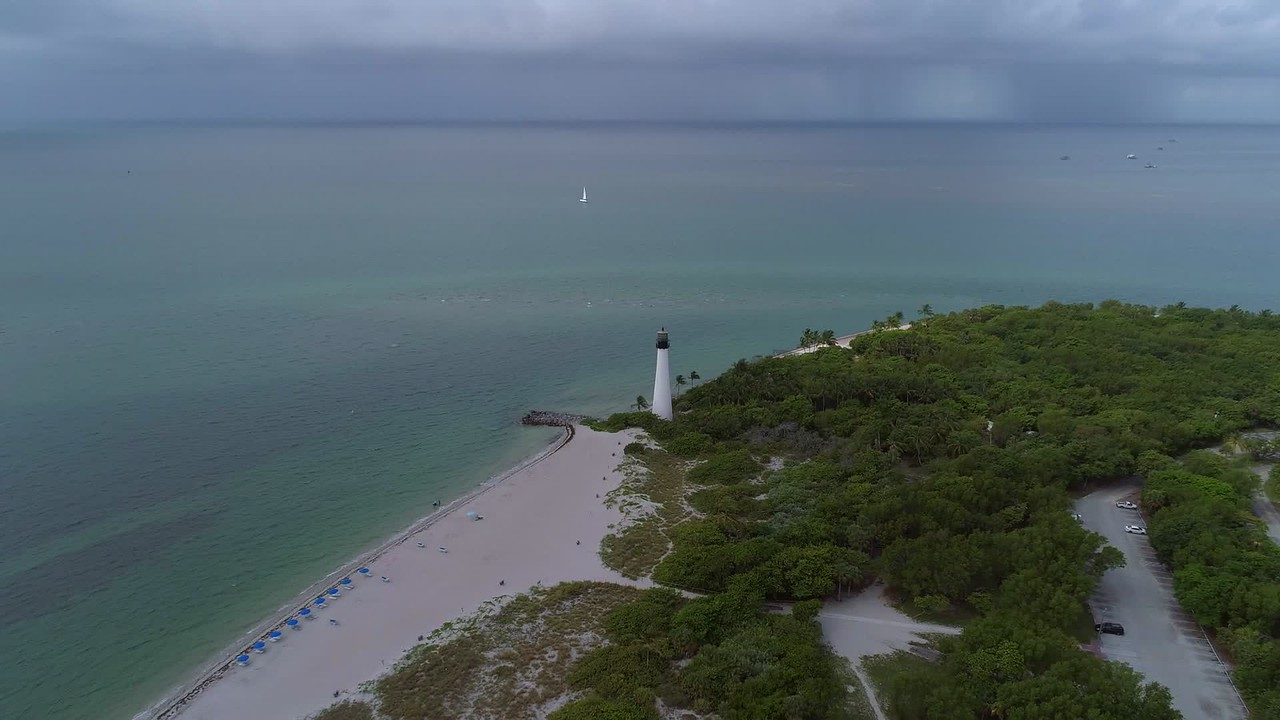Cape Florida Lighthouse aerial video 4k