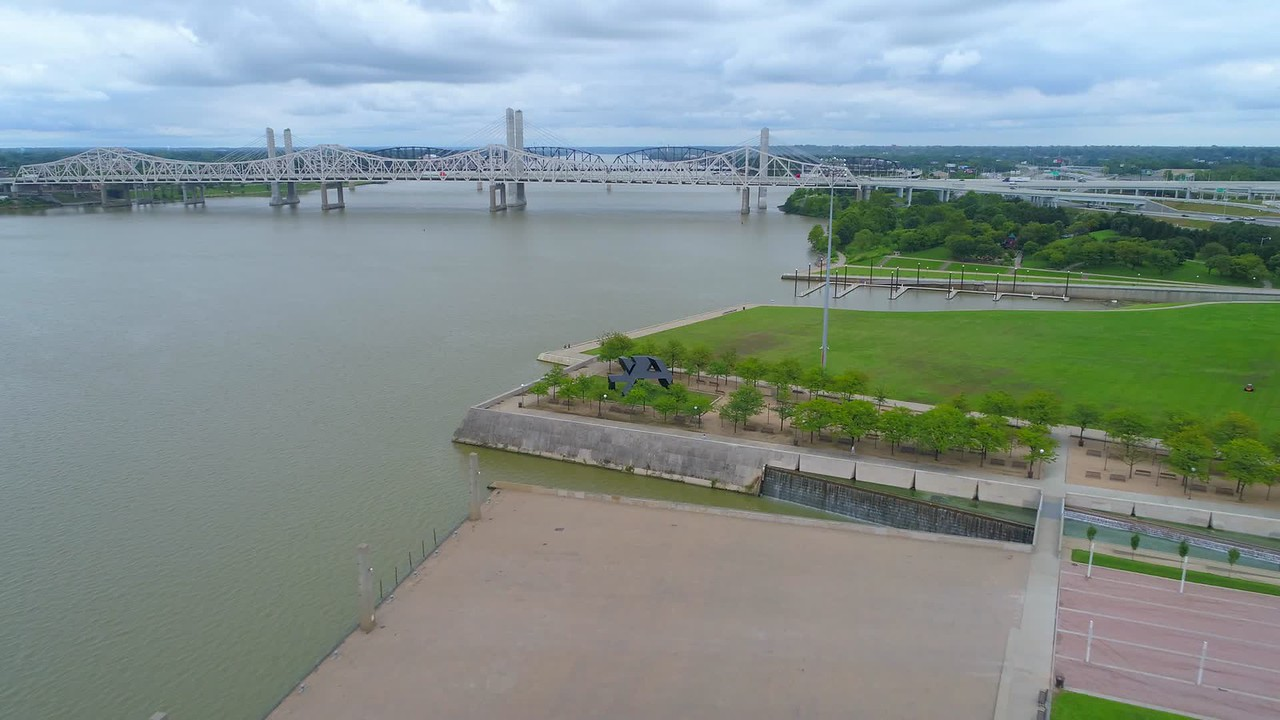 Aerial video of the Louisville Riverwalk pedestrian path