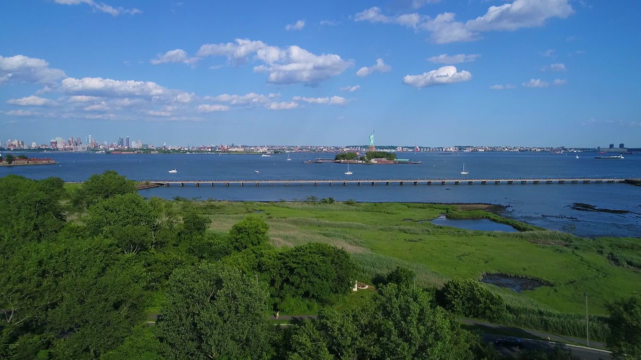 Aerial drone video footage Liberty State Park and Statue 4k 60p
