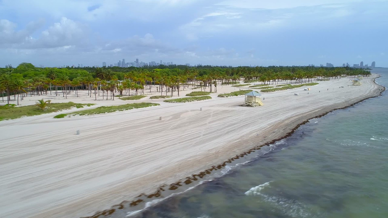 Aerial video Crandon Park Miami FL