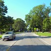Driving through suburbs Evanston Chicago