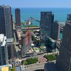 Aerial video Streeterville Apartment Tower Downtown Chicago