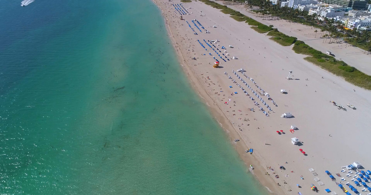 Aerial reveal drone video Miami Beach