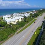 Aerial footage beachfront condominiums Hutchinson Island Florida 4k