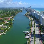 Aerial video luxury mansions Miami Beach
