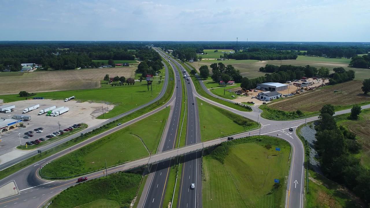 I95 North Carolina Highway aerial video