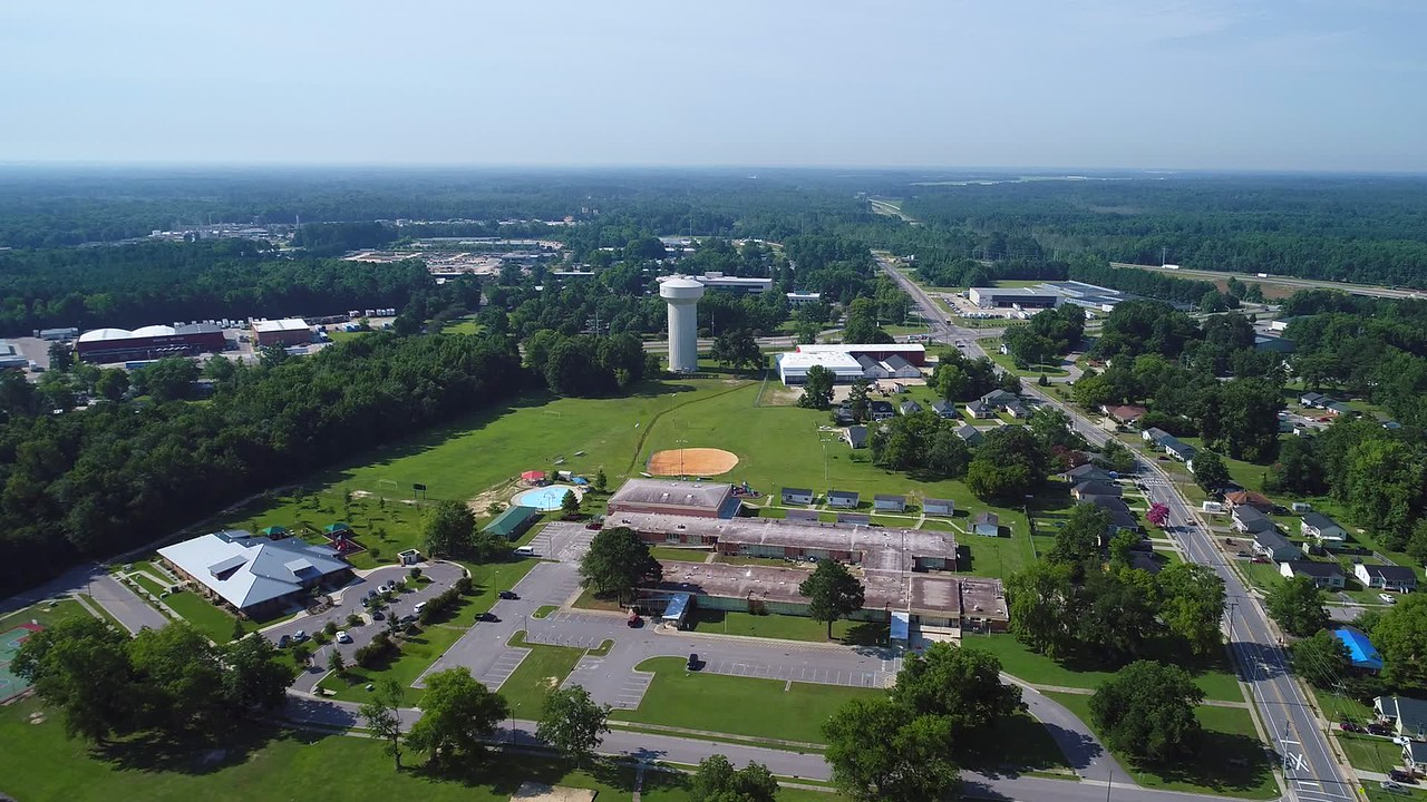 Aerial drone video town of Fayetteville North Carolina USA 4k