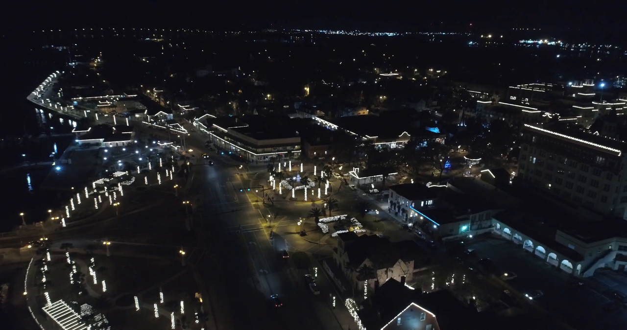Aerial St augustine Florida at night