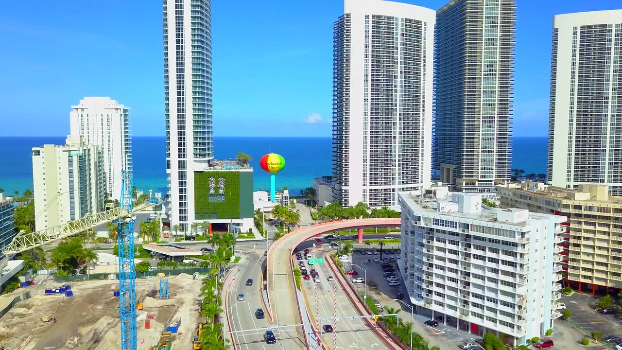 Aerial video of Hallandale Beach FL