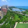 Aerial video Lake View East Belmont Harbor 4k