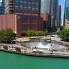 Aerial video River Esplanade Park Chicago