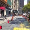 Busy New York City street under construction