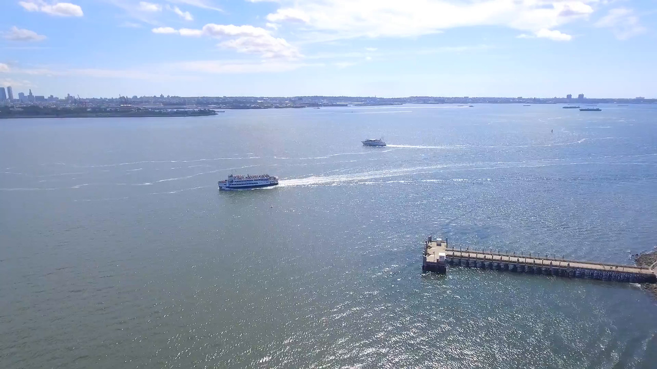 Aerial video Liberty cruise boats in the Hudson