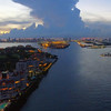 Aerial twilight Miami Beach