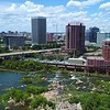 Aerial approach Downtown Richmond VA 4k