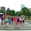 People crossing the street to Boston Common