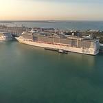 Aerial shot of cruise ships at port miami