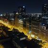 Aerial night video historic buildings Chicago Michigan Avenue