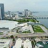 Museum Park and American Airlines Arena Downtown Miami drone aerial video 4k