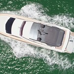 Aerial drone flying over a luxury yacht slow motion