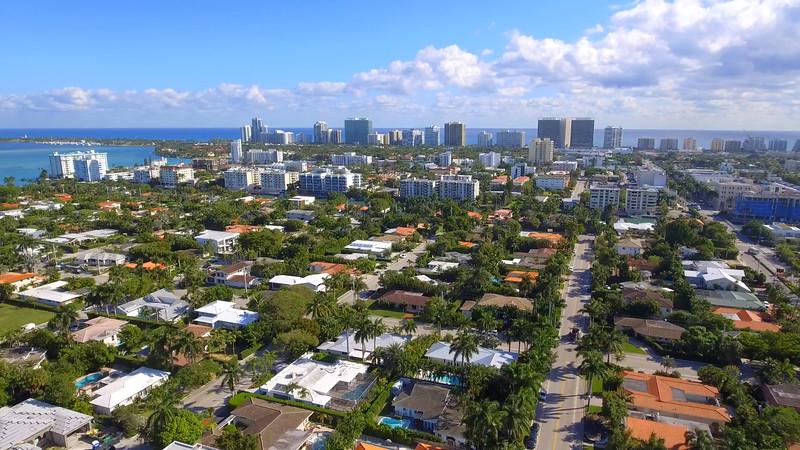 Aerial residential neighborhood Bay Harbor Islands
