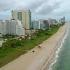 Aerial Miami Beach oceanfront condominium apartments 4k 60p