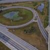 Aerial highway interchange footage 4k