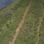 Aerial viddeo of a hiking trail on a volcanic mountain