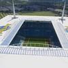 Hardrock foodball stadium aerial video