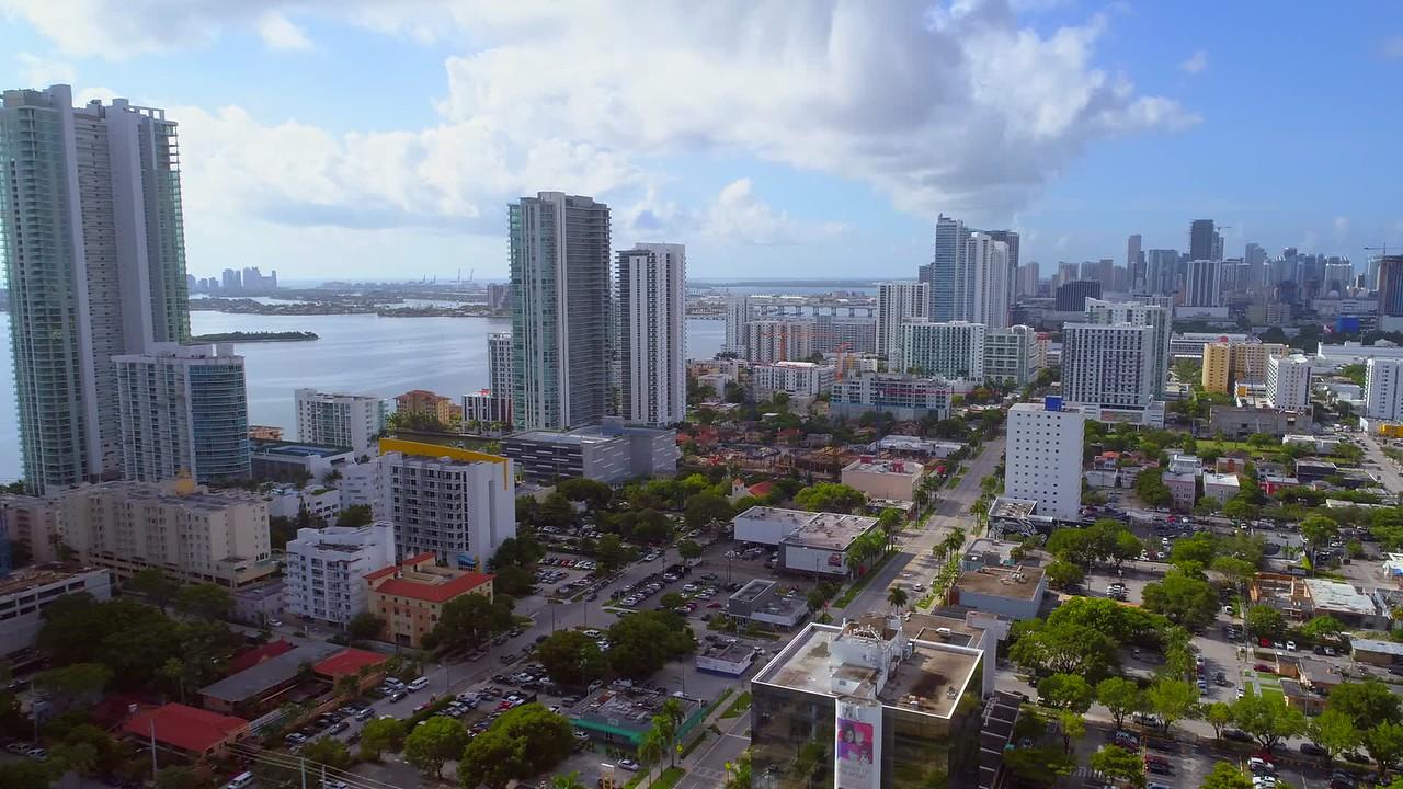Aerial Miami Downtown Midtown city