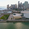Aerial footage American Airlines Arena and Bayside